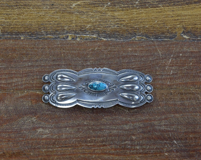 Vintage Navajo Turquoise Sterling Silver Brooch