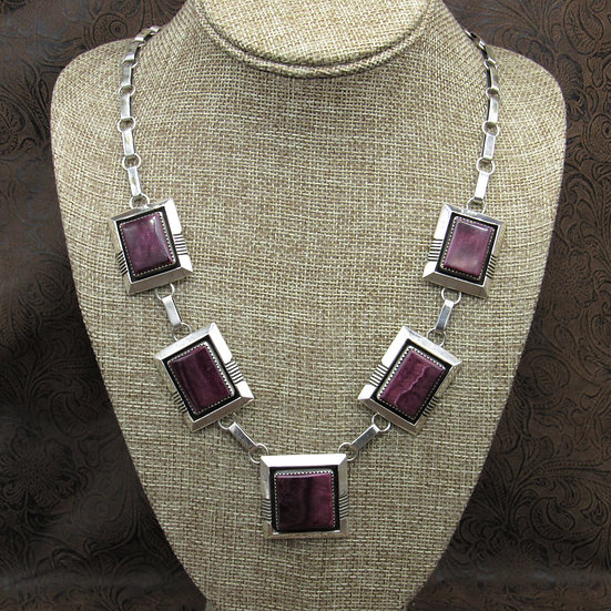 Navajo Sterling Silver Purple Spiny Oyster Necklace By Will Denetdale