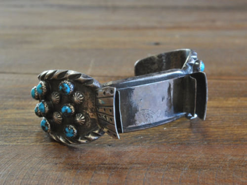 Vintage southwest Sterling Silver And Turquoise Watch Cuff Bracelet