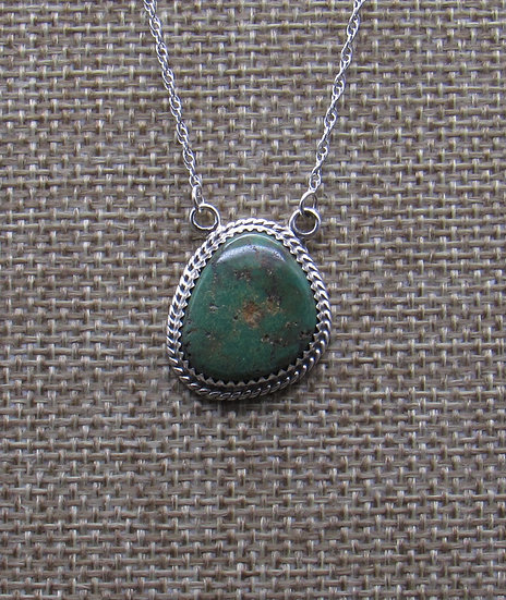 Navajo Made Green Turquoise and Sterling Silver Necklace