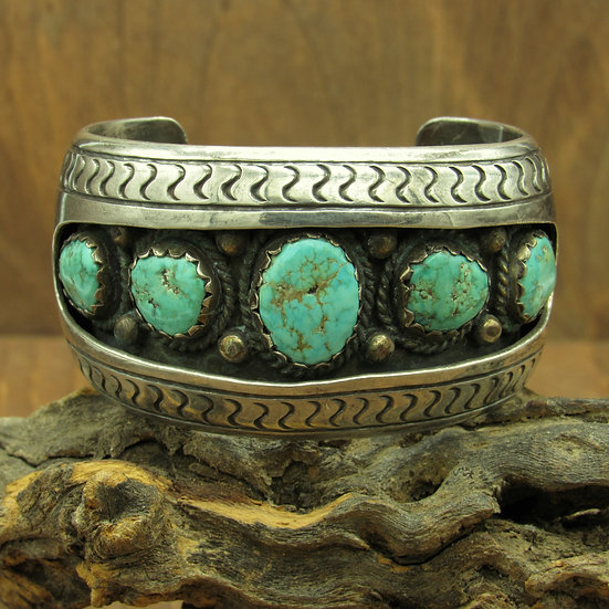 Beautiful Southwest Shadow Box Turquoise Sterling Silver Cuff Bracelet