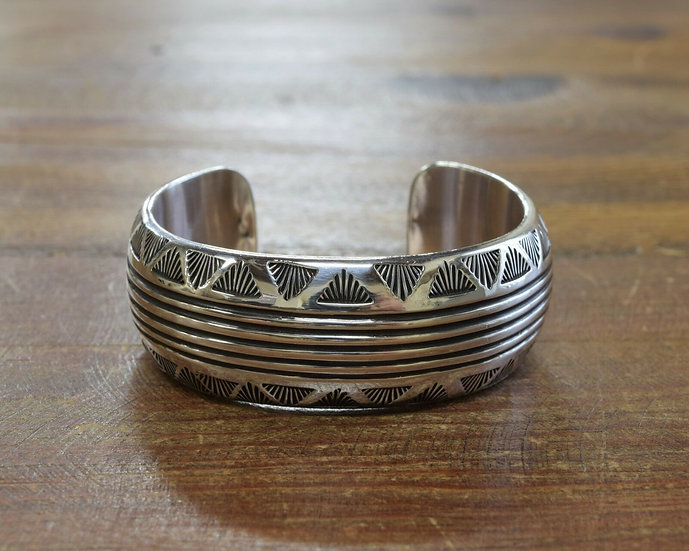Vintage Southwestern Sterling Silver Cuff Bracelet With Stamped Designs