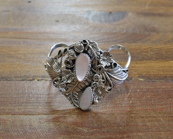 Southwestern Sterling Silver and Mother of Pearl Cuff Bracelet