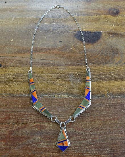 Navajo Multi-Color Inlay Sterling Silver Necklace