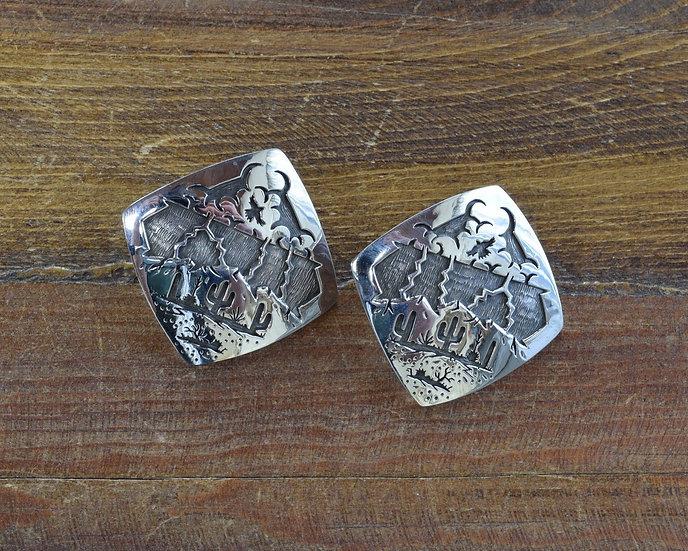 Saguaro Storm Desert Scene Sterling Silver Overlay Earrings by Rick Manuel