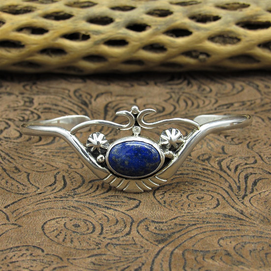 Sterling Silver Lapis Cuff Bracelet With Silver Design