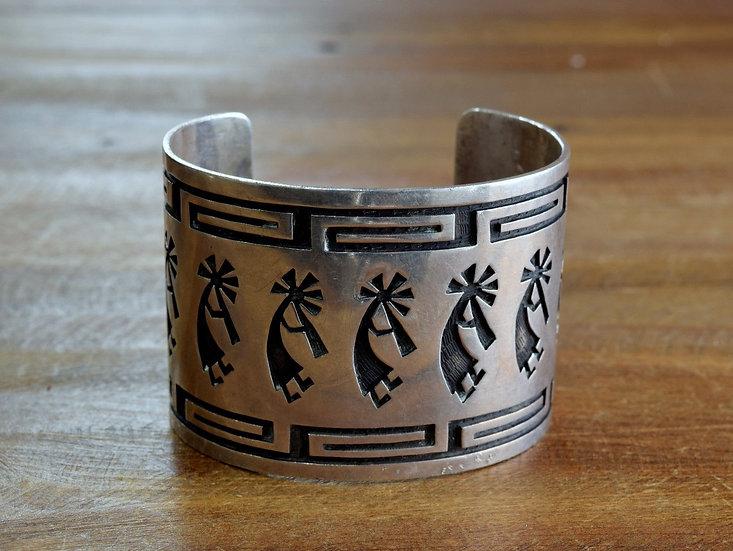 Vintage Hopi Sterling Silver Kokopelli Overlay Cuff Bracelet