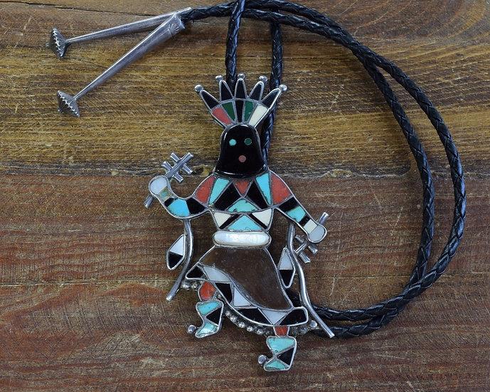 Vintage Zuni Sterling Silver Inlay Apache Gan Dancer Bolo Tie by Vera Luna