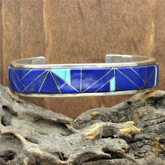 Vintage Lapis and Turquoise Inlay Sterling Silver Cuff Bracelet