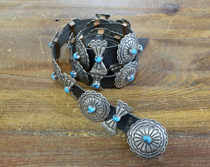 Vintage Turquoise Sterling Silver Concho Belt