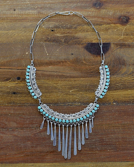 Vintage Zuni Sterling Silver Turquoise Necklace