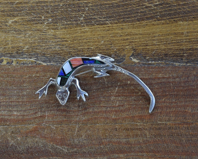 Navajo Sterling Silver Multi-Stone Inlay Lizard Brooch