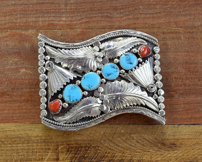 Southwest Sterling Silver, Turquoise and Coral Belt Buckle