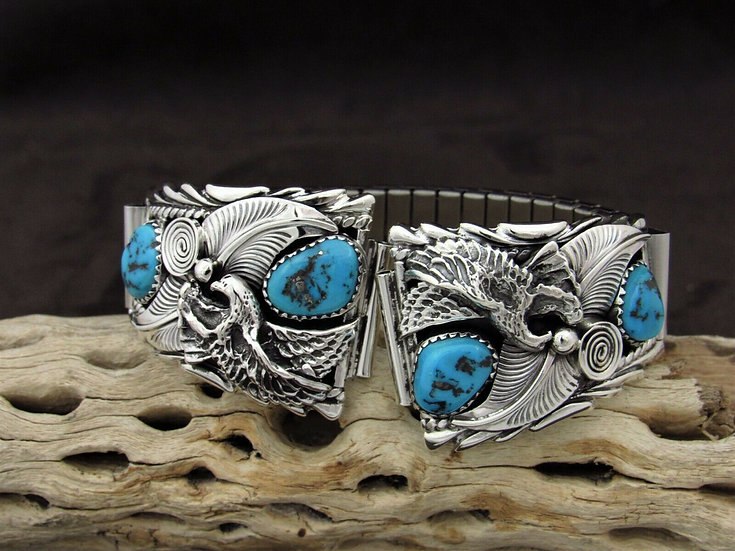 Sterling Silver Turquoise Eagle Watch Band