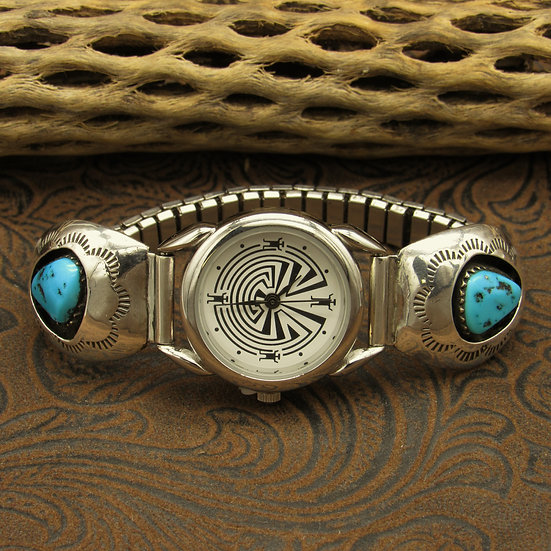 Navajo Turquoise Sterling Silver Shadowbox Watchband
