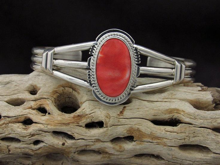 Navajo Sterling Silver Spiny Oyster Cuff Bracelet By Larson L. Lee