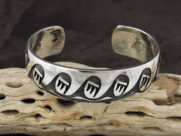 Hopi Berna & Anderson Koinva Sterling Silver Overlay Cuff Bracelet