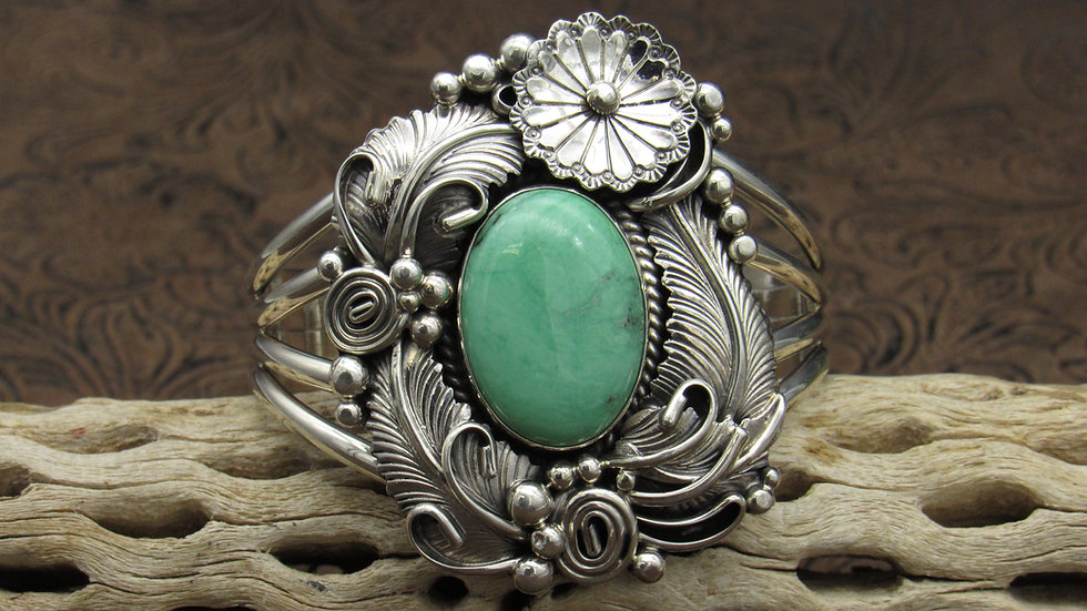 Navajo Green Turquoise Sterling Silver Cuff Bracelet