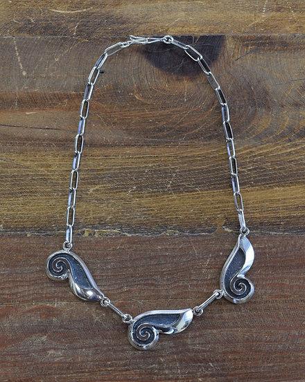 Vintage Southwestern Sterling Silver Sandcast Necklace