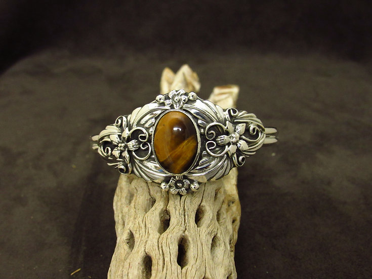 Southwestern Sterling Silver Tiger Eye Cuff Bracelet