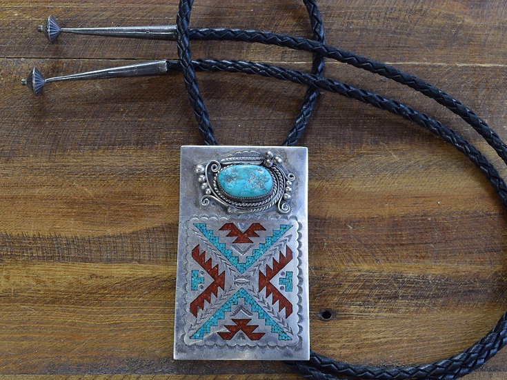 Vintage Navajo Sterling Silver Turquoise and Coral Chip Inlay Bolo Tie