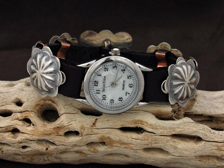 Southwestern Sterling Silver Repousse Concho Watch Bracelet by Jerome Begay