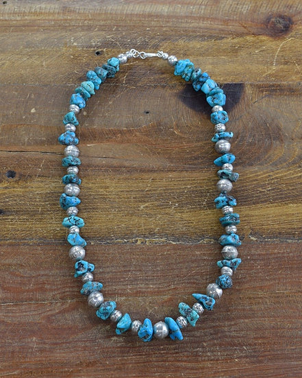 Vintage Navajo Turquoise and Sterling Silver Bead Necklace