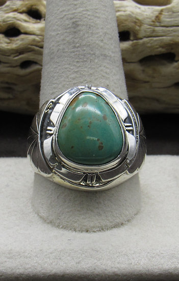 Handsome Turquoise and Sterling Silver Ring Size 11 3/4