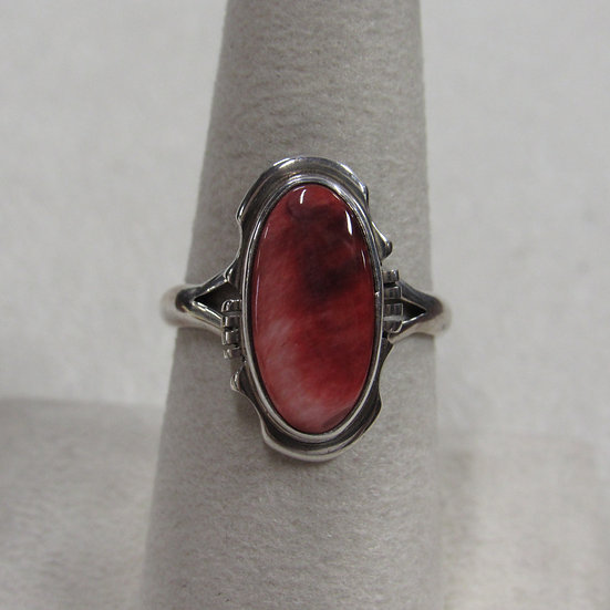 Sterling Silver and Spiny Oyster Ring by Navajo Arkge Nelson