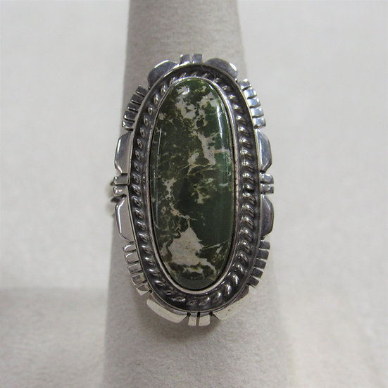 Sterling Silver and Green Turquoise Ring By Richard Curley