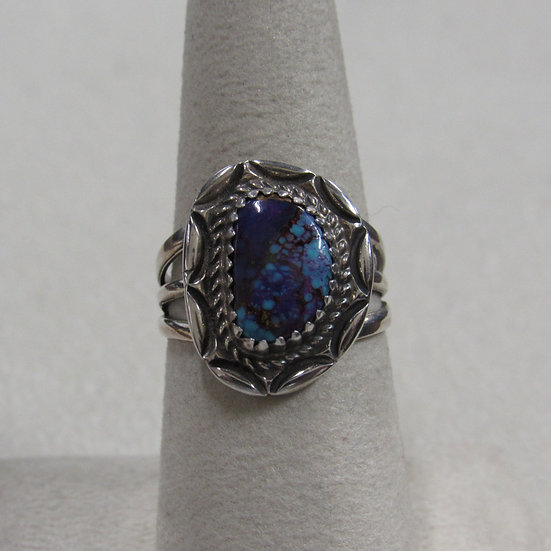 Southwest Sterling Silver and Dyed Turquoise Ring Size 7
