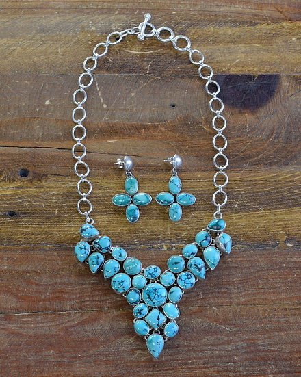Vintage Turquoise Sterling Silver Necklace and Earring Set