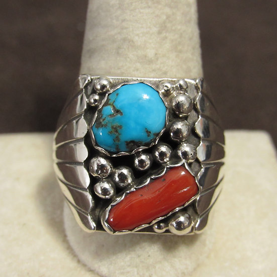 Southwest Men's Sterling Silver, Coral and Turquoise Ring Size 12.25