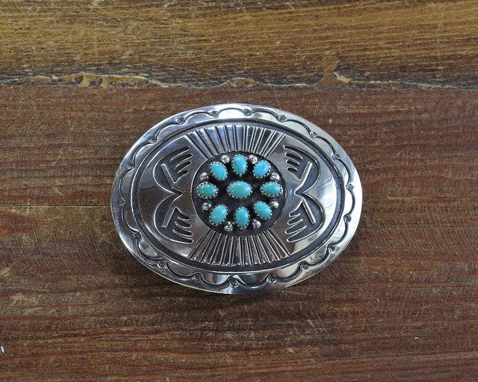 Vintage Southwestern Sterling Silver Overlay Turquoise Belt Buckle