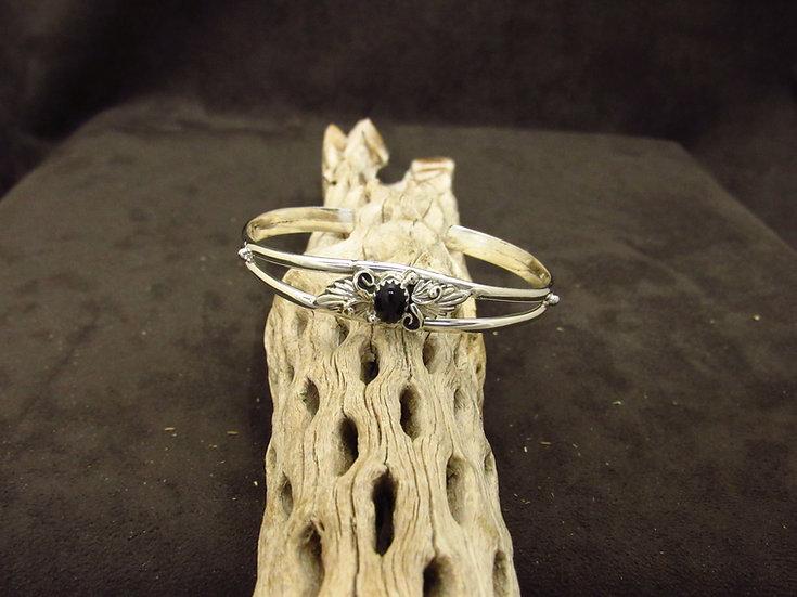 Lightweight Sterling Silver Onyx Cuff Bracelet