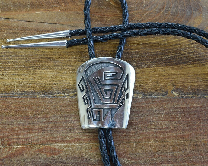 Vintage Hopi Sterling Silver Overlay Bolo Tie by Weaver Selina