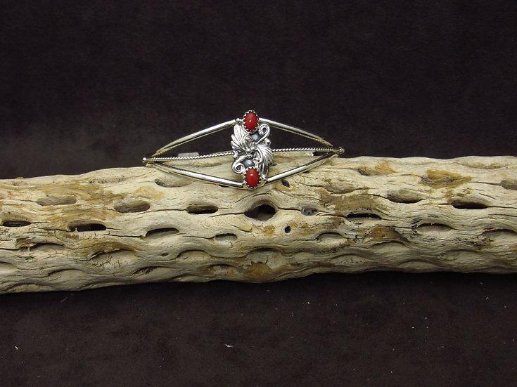 Lightweight Sterling Silver Coral Cuff Bracelet
