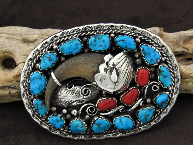 Navajo Turquoise and Coral Sterling Silver Belt Buckle