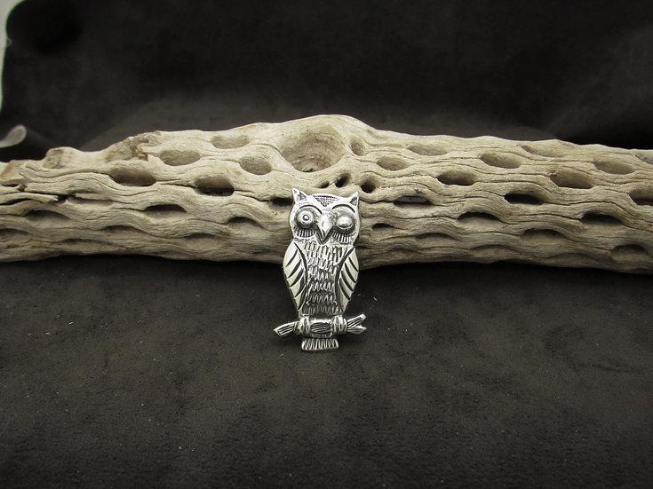 Handmade Sterling Silver Owl Pin