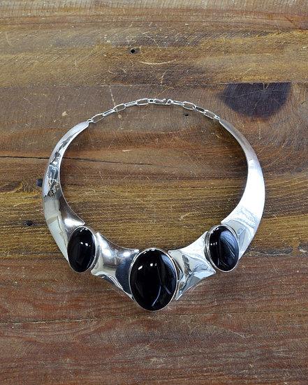 Vintage Black Onyx Sterling Silver Choker Necklace