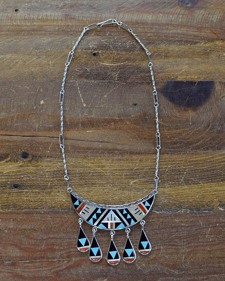 Zuni Sterling Silver and Multi-Stone Inlay Necklace Boone