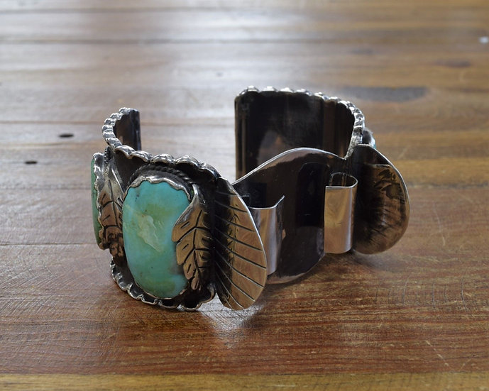 Vintage Turquoise Sterling Silver Watch Cuff