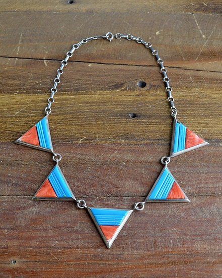 Sterling Silver Necklace with Spiny Oyster Shell and Inlay Turquoise Triangles