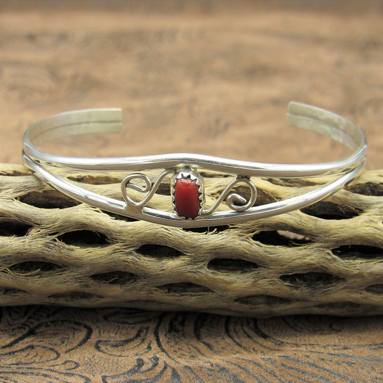 Dainty Sterling Silver Cuff Bracelet With Coral