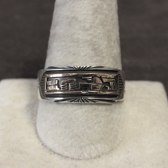 Southwest Sterling Silver and Gold Filled Story Teller Band Ring Size 12