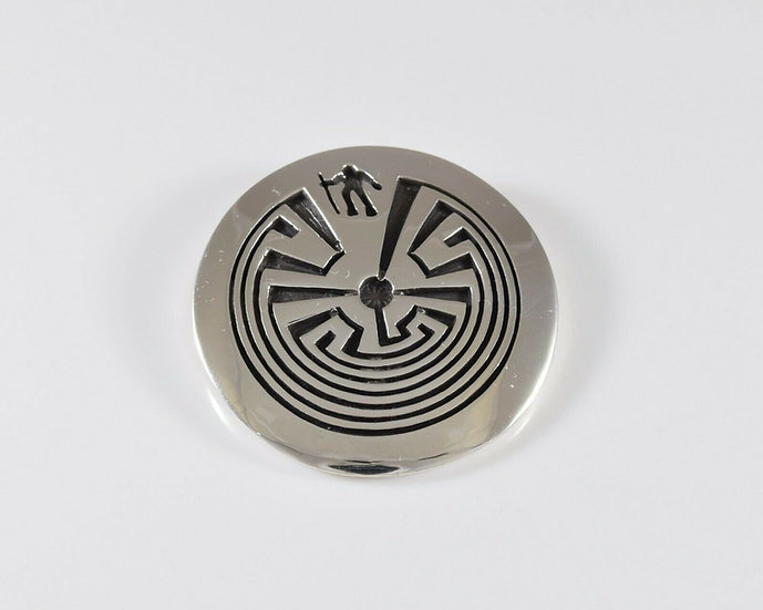 Tohono O'odham Man in the Maze Sterling Silver Overlay Pendant by Rick Manuel