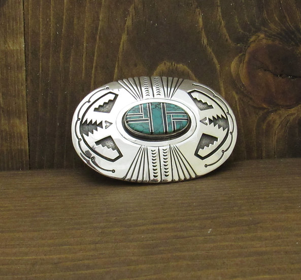 Vintage Navajo Sterling Silver and Turquoise Inlay Belt Buckle by Roger A. Lewis