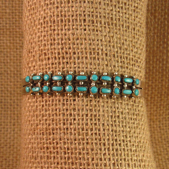 Zuni Turquoise Dots and Dashes Sterling Silver Cuff Bracelet
