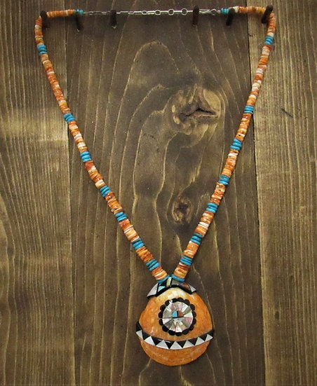 Vintage Spiny Oyster and Turquoise Beads with Zuni Inlay Sunface Shell Pendant