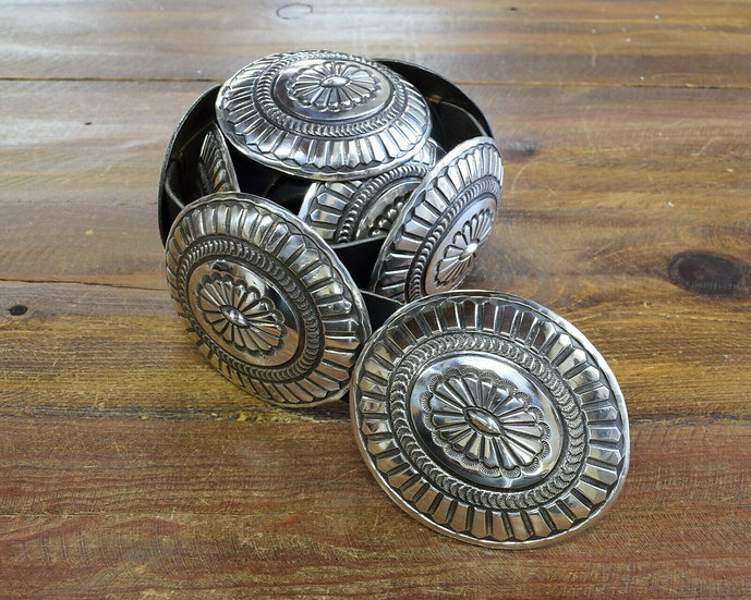 Vintage Navajo Sterling Silver Concho Belt by Pete Morgan